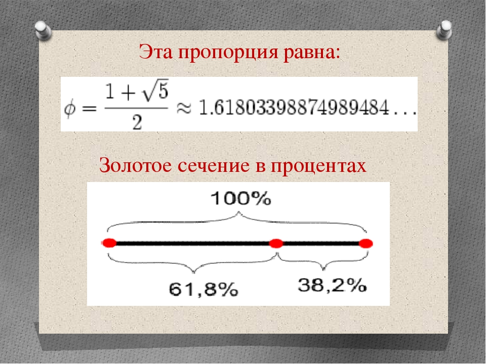 Эта пропорция равна: Золотое сечение в процентах