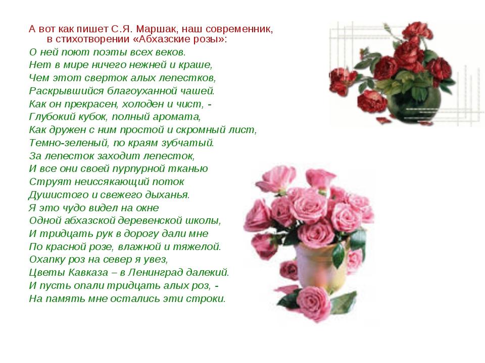 А вот как пишет С.Я. Маршак, наш современник, в стихотворении «Абхазские розы...