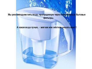 Мы рекомендуем пить воду, пропущенную через современные бытовые фильтры. А к