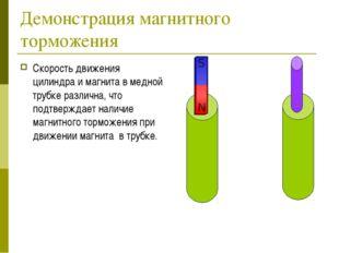 Демонстрация магнитного торможения Скорость движения цилиндра и магнита в мед