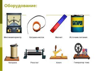 Оборудование: Миллиамперметр Катушка-моток Магнит Источник питания Катушка Ре