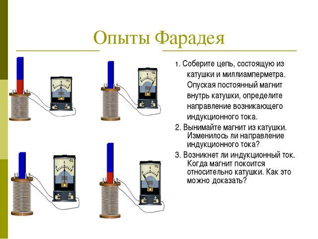 Опыты Фарадея 1. Соберите цепь, состоящую из катушки и миллиамперметра. Опуск...