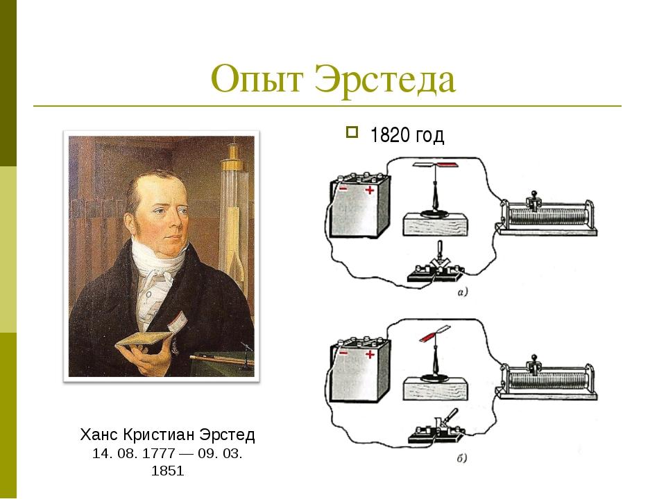 Опыт Эрстеда 1820 год Ханс Кристиан Эрстед 14. 08. 1777 — 09. 03. 1851