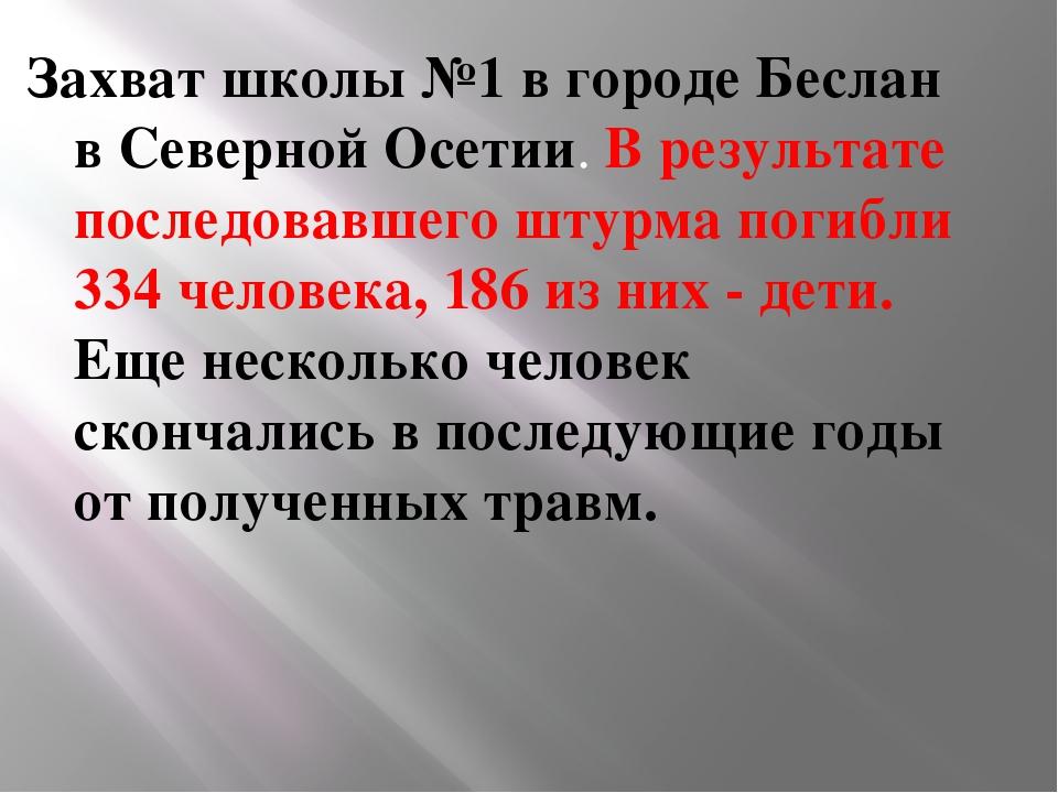 Захват школы №1 в городе Беслан в Северной Осетии. В результате последовавше...