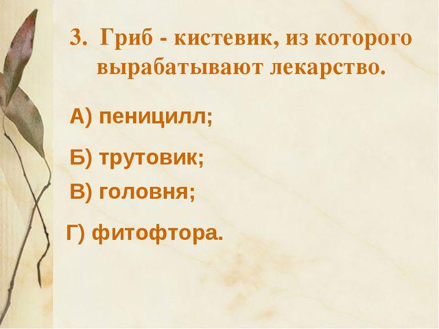 3. Гриб - кистевик, из которого вырабатывают лекарство. А) пеницилл; Б) труто...