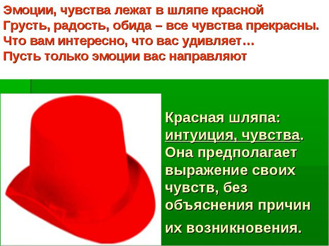 Красная шляпа: интуиция, чувства. Она предполагает выражение своих чувств, бе...