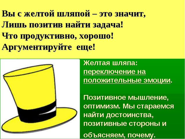 Желтая шляпа: переключение на положительные эмоции. Позитивное мышление, опти...