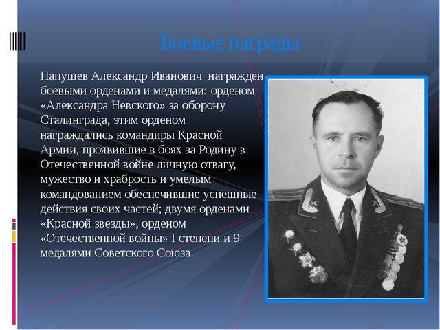 Папушев Александр Иванович награжден боевыми орденами и медалями: орденом «Ал...