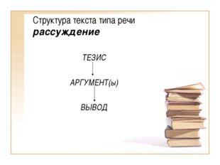 Структура текста типа речи рассуждение ТЕЗИС АРГУМЕНТ(ы) ВЫВОД
