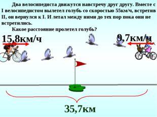 Два велосипедиста движутся навстречу друг другу. Вместе с I велосипедистом в