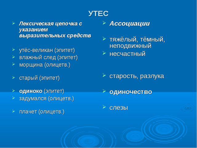 УТЕС Лексическая цепочка с указанием выразительных средств утёс-великан (эпит...