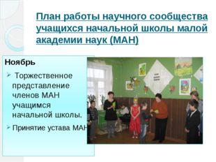 План работы научного сообщества учащихся начальной школы малой академии наук