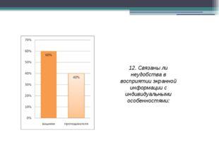 12. Связаны ли неудобства в восприятии экранной информации с индивидуальными