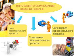 ИННОВАЦИЯ В ОБРАЗОВАНИИ - введение нового в: Цели образовательного процесса С