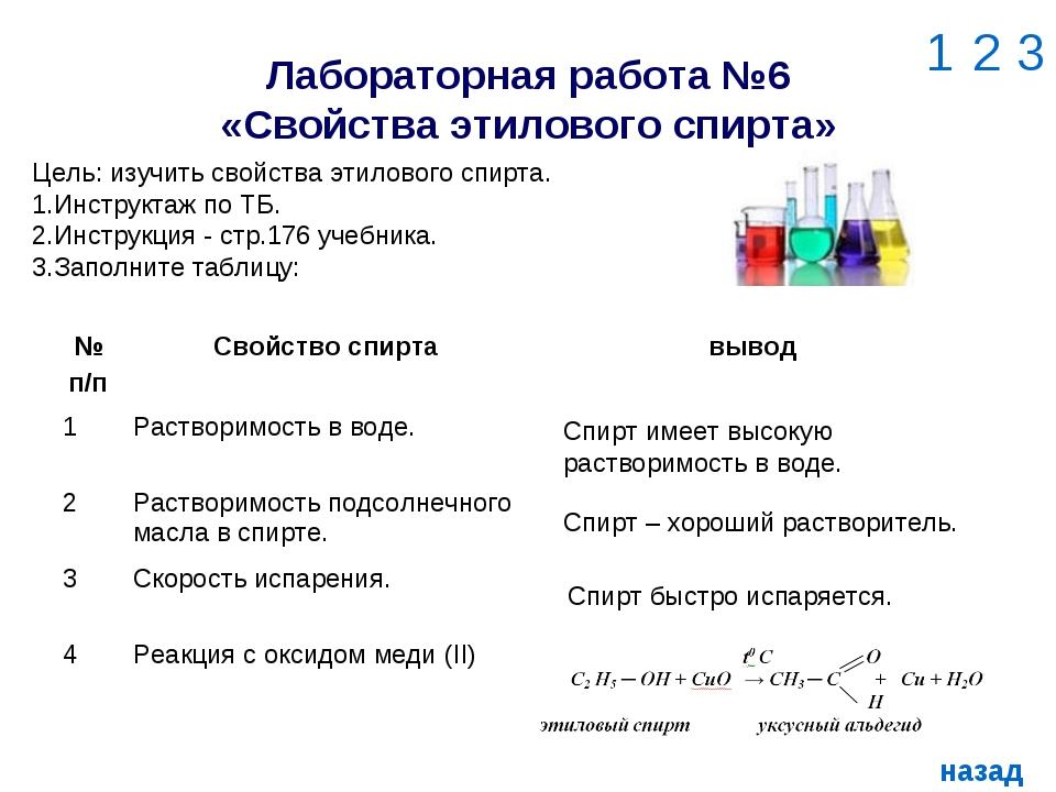Лабораторная работа №6 «Свойства этилового спирта» 1 2 3 назад Цель: изучить...