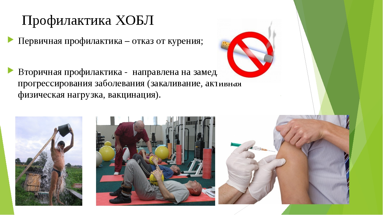 Профилактика ХОБЛ Первичная профилактика – отказ от курения; Вторичная профил...