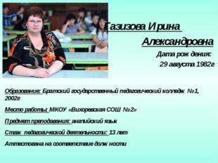 Газизова Ирина Александровна Дата рождения: 29 августа 1982г Образование: Бр