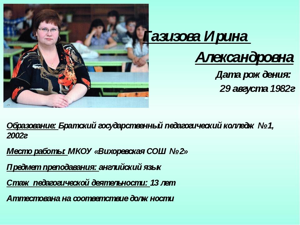Газизова Ирина Александровна Дата рождения: 29 августа 1982г Образование: Бр...