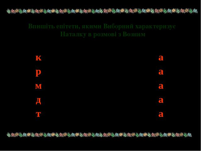 Впишіть епітети, якими Виборний характеризує Наталку в розмові з Возним к...