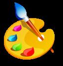 Художественный клипарт, краски, карандаши, палитры, мольберт…