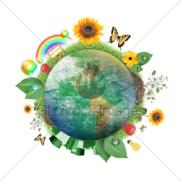 Зеленый земной шар изолирован на белом фоне с облаками, город, деревья и трава вокруг него и пользоваться ей характер концепции