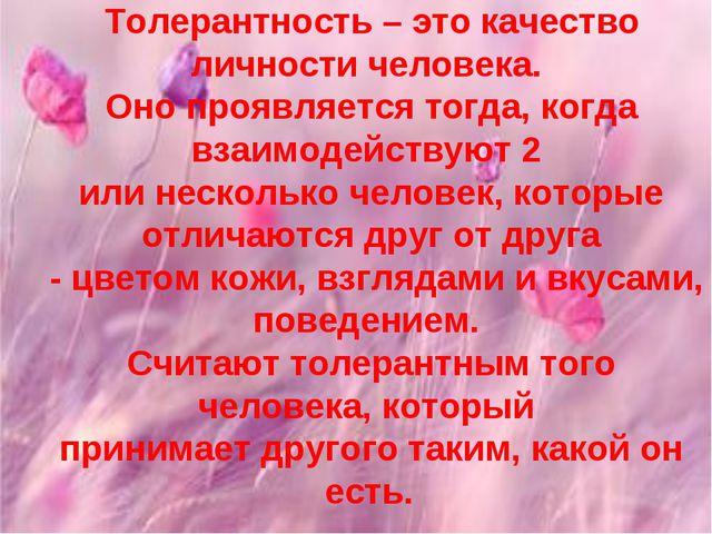 Толерантность – это качество личности человека. Оно проявляется тогда, когда...
