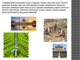 С симметрией мы встречаемся везде: в природе, технике, искусстве, науке. Поня