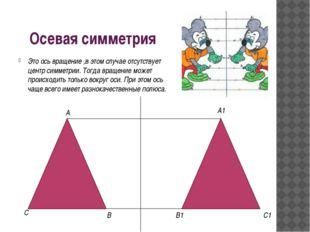 Осевая симметрия Это ось вращение ,в этом случае отсутствует центр симметрии.