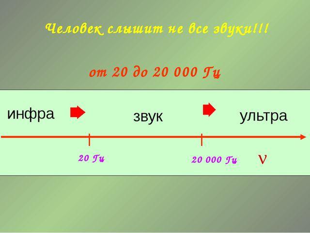 20 Гц 20 000 Гц звук инфра ультра ν Человек слышит не все звуки!!! от 20 до...
