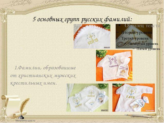 5 основных групп русских фамилий: 1.Фамилии, образованные от христианских муж...