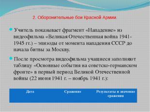 2. Оборонительные бои Красной Армии. Учитель показывает фрагмент «Нападение»