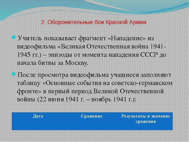 2. Оборонительные бои Красной Армии. Учитель показывает фрагмент «Нападение»...