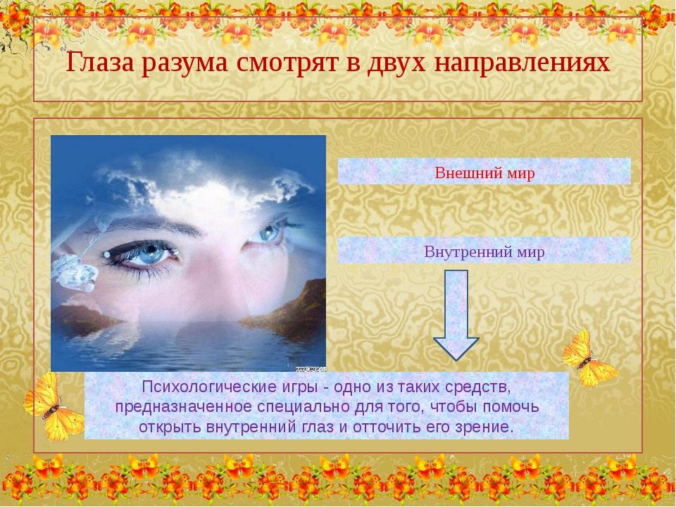 Глаза разума смотрят в двух направлениях Внешний мир Внутренний мир Психологи...