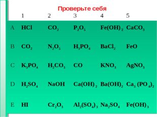 * * Проверьте себя 12 345 АHClCO2Р2O5Fe(OH) 2CaCO3 ВCO2N2О5H3PO