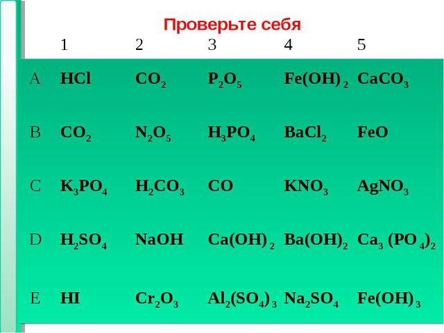 * * Проверьте себя 12 345 АHClCO2Р2O5Fe(OH) 2CaCO3 ВCO2N2О5H3PO...