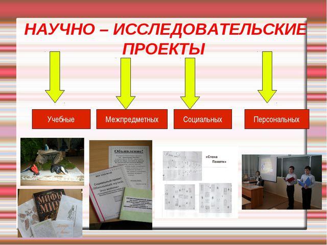 НАУЧНО – ИССЛЕДОВАТЕЛЬСКИЕ ПРОЕКТЫ Учебные Межпредметных Социальных Персонал...