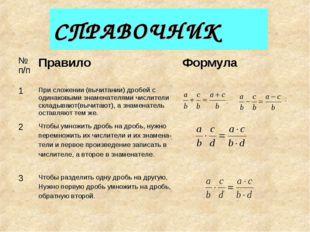 СПРАВОЧНИК ; ; № п/пПравилоФормула 1При сложении (вычитании) дробей с один