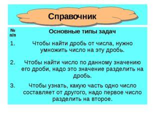 СПРАВОЧНИК Справочник №п/пОсновные типы задач 1.Чтобы найти дробь от числа,