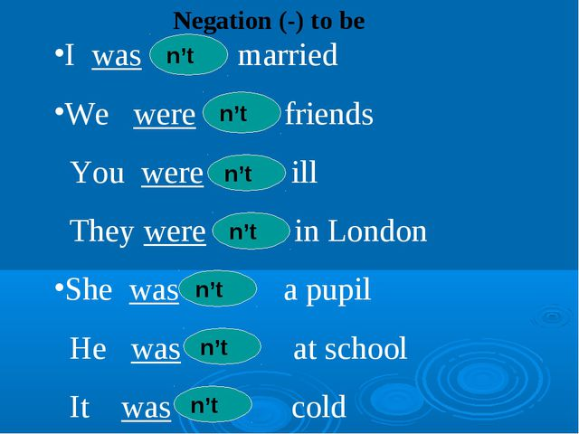 Negation (-) to be I was married We were friends You were ill They were in Lo...