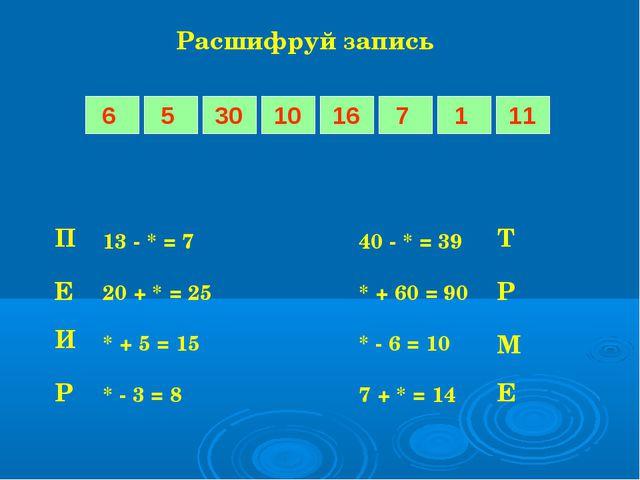 Расшифруй запись 13 - * = 740 - * = 39 20 + * = 25* + 60 = 90 * + 5 = 1...