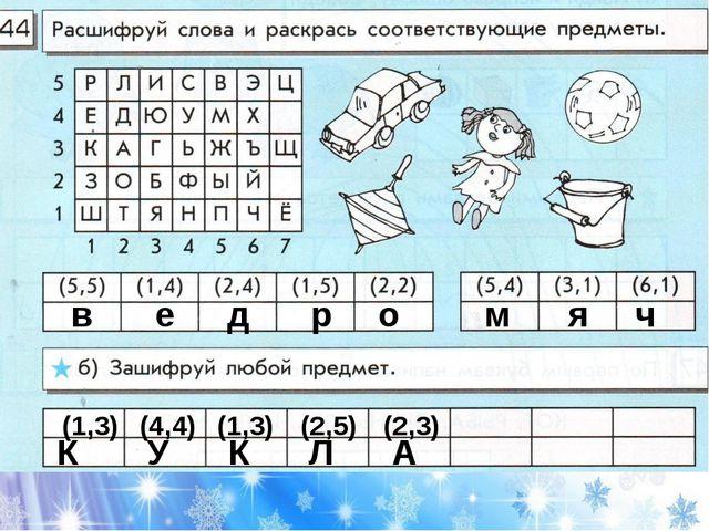 о в е д р о м я ч К У К Л А (1,3) (4,4) (1,3) (2,5) (2,3)