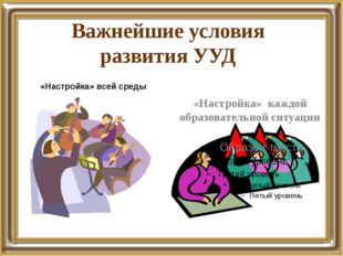«Настройка» всей среды «Настройка» каждой образовательной ситуации Важнейшие