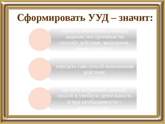 Сформировать УУД – значит: