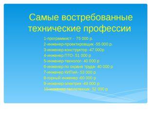 1-программист - 75 000 р. 2-инженер-проектировщик -55 000 р. 3-инженер-констр