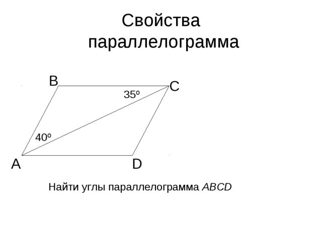 Свойства параллелограмма А В С D 40º 35º Найти углы параллелограмма АВСD