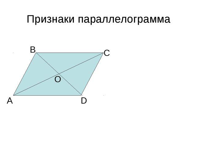 Признаки параллелограмма А В С D O