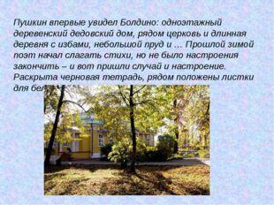 Пушкин впервые увидел Болдино: одноэтажный деревенский дедовский дом, рядом ц