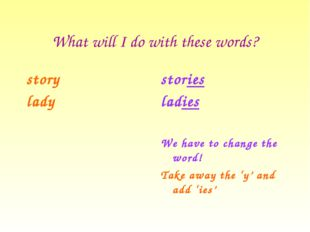 What will I do with these words? story lady stories ladies We have to change