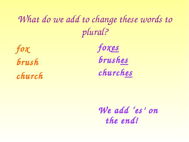 What do we add to change these words to plural? fox brush church foxes brushe...