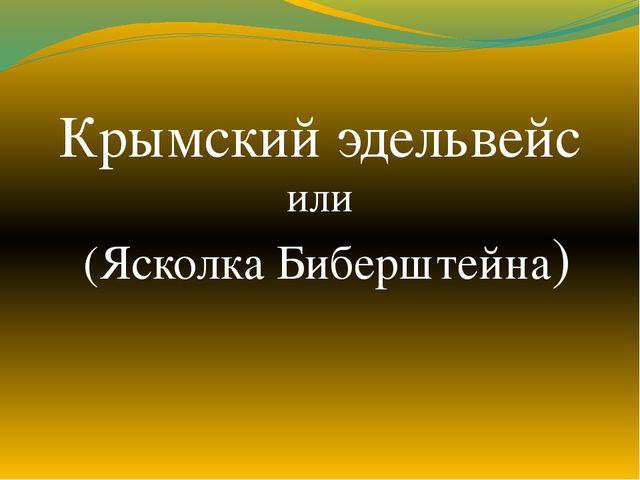 Крымский эдельвейс или (Ясколка Биберштейна)